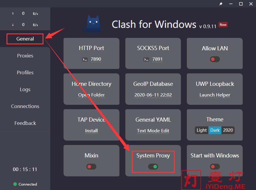 Clash for Windows 启用系统代理